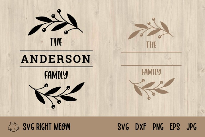 Family Monogram SVG, Last Name Farmhouse Monogram Wreath