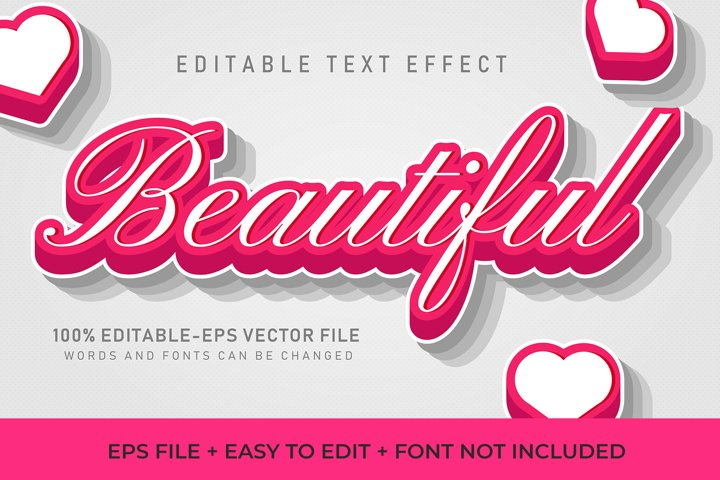 Beautiful Pink Vector Text Effect