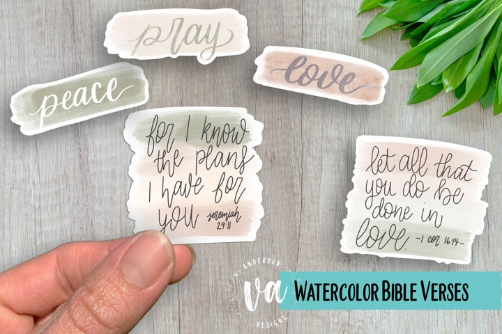 Watercolor Bible Verses and Phrases PNGs