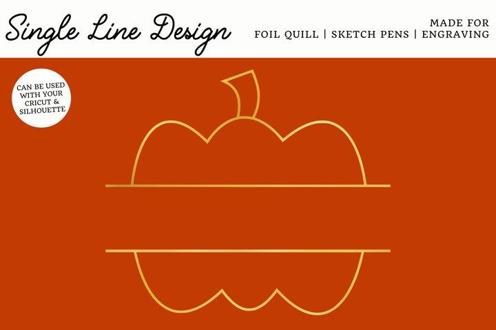 Pumpkin Split Monogram Single Line Design for Foil Quill