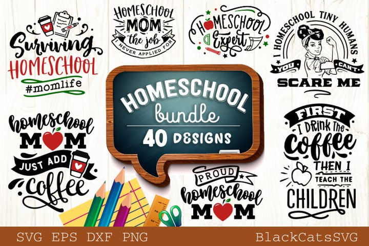 Homeschool SVG bundle 40 designs homeschool mom SVG bundle