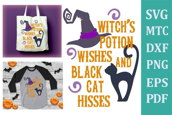 Witch Potion Wishes Black Cat Hisses Halloween Design #02