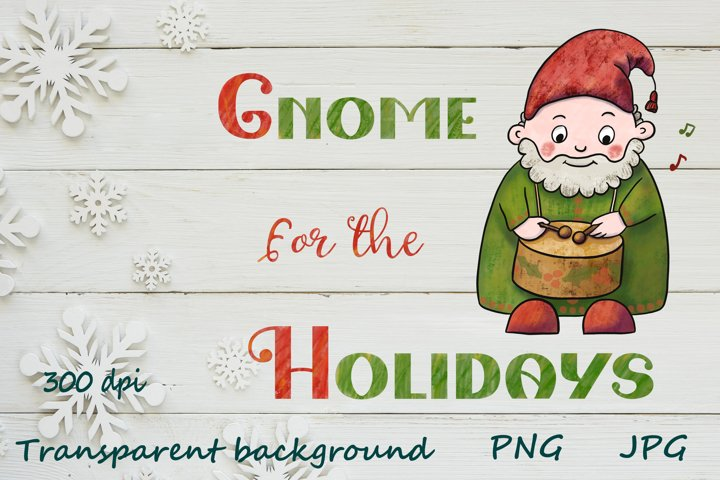 Christmas Gnome for the Holidays quotes watercolor design