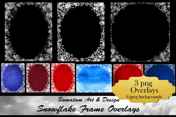 Snowflake Frame Overlays & Backgrounds