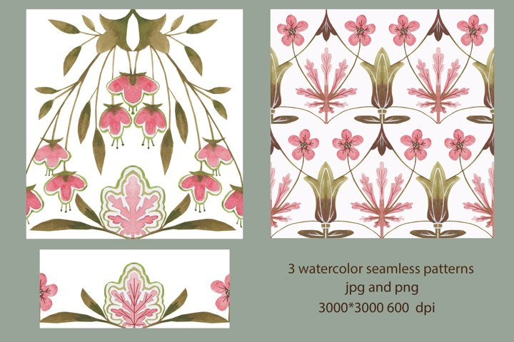 3 watercolor seamless patterns jpg and png