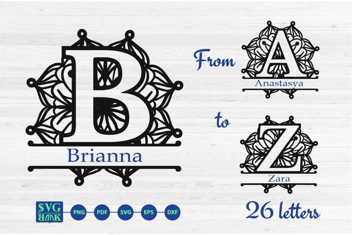 Mandala monogram Alphabet split letters A-Z SVG Cut Files