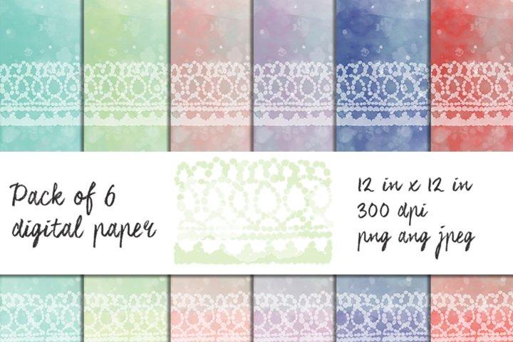 Watercolor Digital Paper. Set of 6 papers 12 in x 12 in