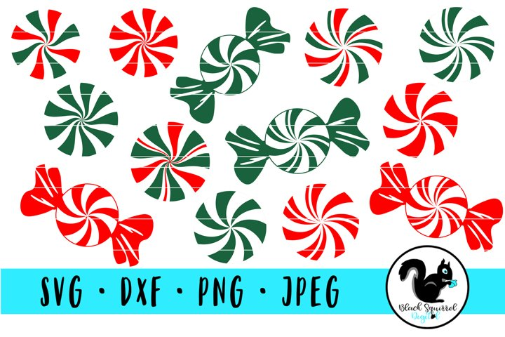 Red and Green Peppermints Candies in Wrappers SVG