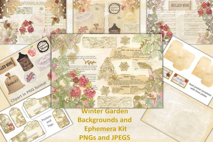Winter Garden Backgrounds with Free Ephemera. Journaling Kit