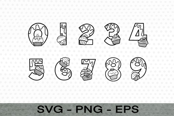 Number Cup Cake style/logo SVG,EPS,PNG file,Instant Download