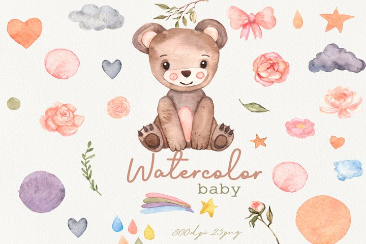 Watercolor cute baby bear clipart, Woodland Animals