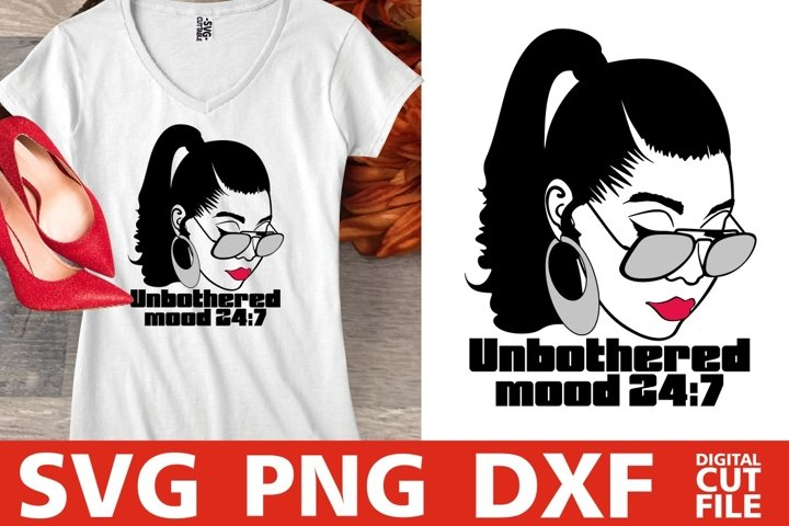 Unbothered svg, Mood svg, Woman in Glasses svg, Ponytail svg