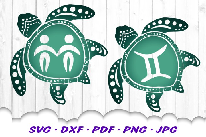 Gemini Zodiac Sign Sea Turtle SVG DXF Cut Files Bundle