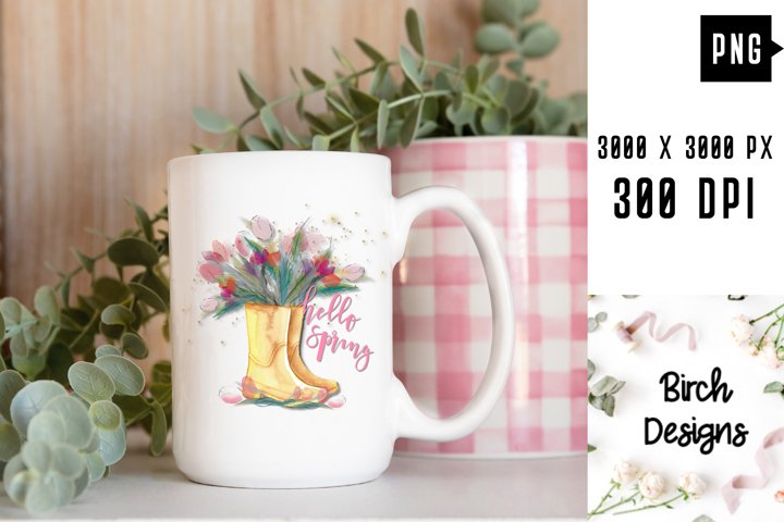 Spring Watercolor Tulips Yellow Rainboots PNG Sublimation