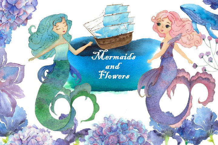 Watercolor Mermaids and Flowers