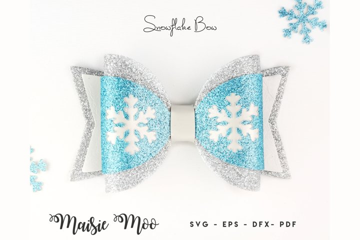 Snowflake Bow SVG, Frozen Winter Bow Template