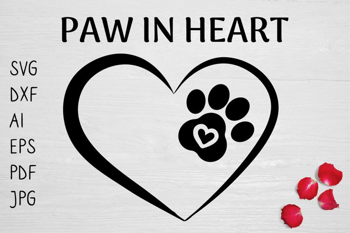 PAW IN HEART SVG PNG DOG LOVER