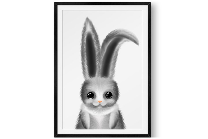 Nursery bunny print - Cute animal print - Wall decor