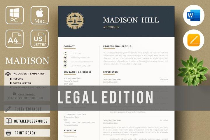 Attorney Resume, CV Template. Lawyer Resume & Cover Legger