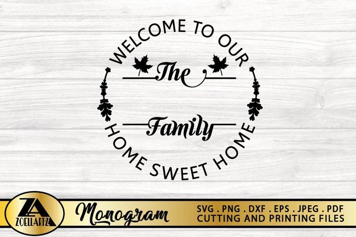 Family Monogram SVG PNG EPS DXF Farmhouse Monogram Wreath