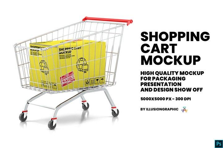 Shopping Cart With Kraft Box Mockup