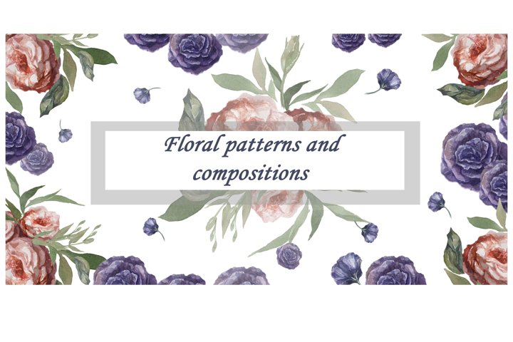Seamless watercolor patterns and compositions with flowers.
