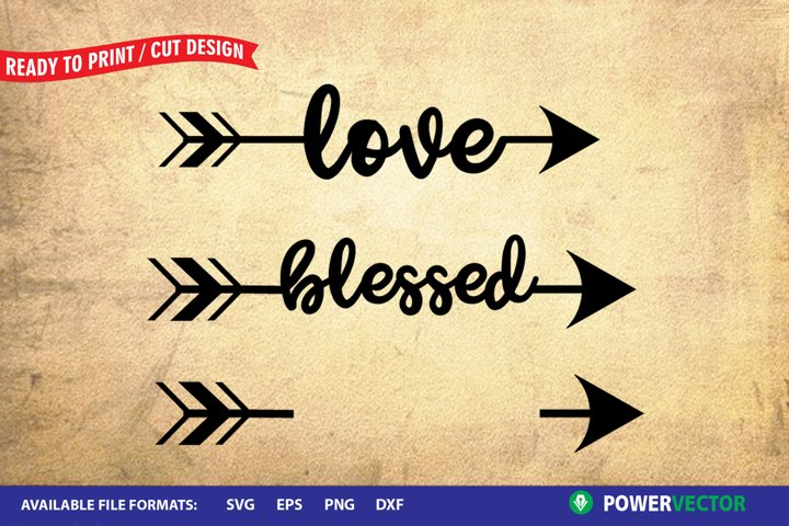 Word Arrow - Blessed, Love | Word Art Svg Cutting Templates