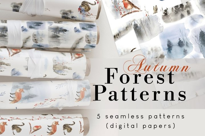 Fall digital paper, seamless patterns with woodland animals