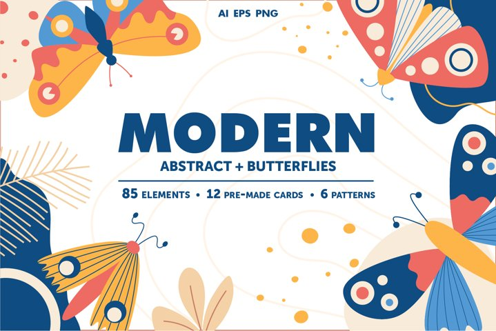 Modern abstract set & butterflies