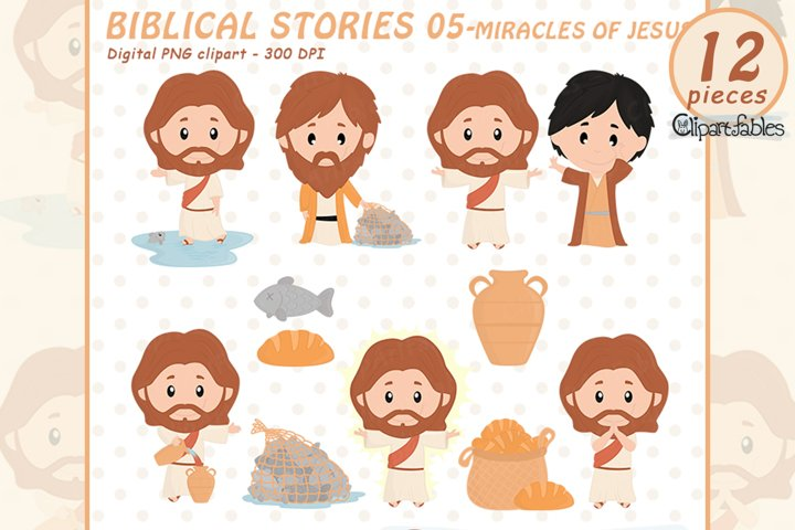 Cute BIBLICAL STORIES clipart for kids - Miracles of JESUS