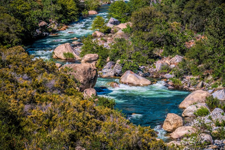 Mountain River with Rapids in Sierra Nevada