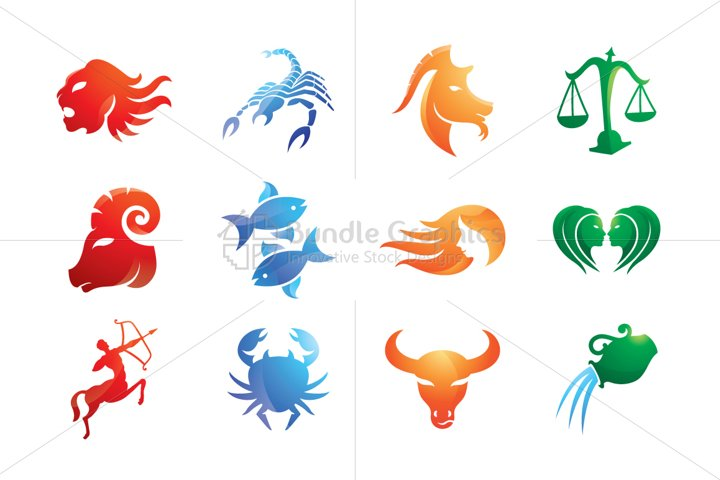Tribal Style Zodiac Signs - Iconic Set