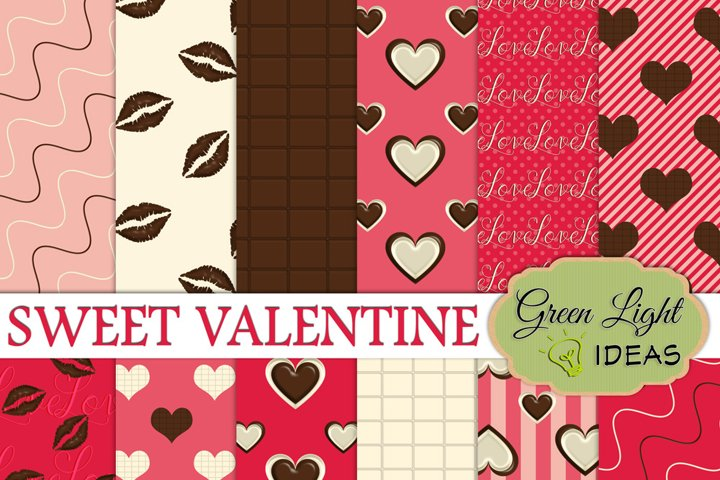 Sweet Valentine Digital Papers, Valentines Day Backgrounds, Love Scrapbook Papers