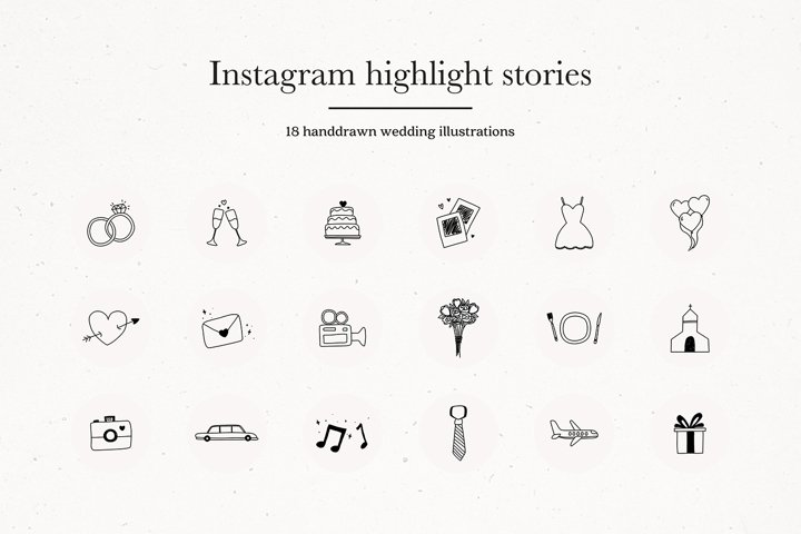 Instagram Wedding Highlights Icons | Instagram Story Covers