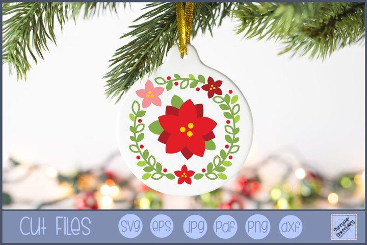 Poinsettia Christmas Laurel SVG | Christmas SVG