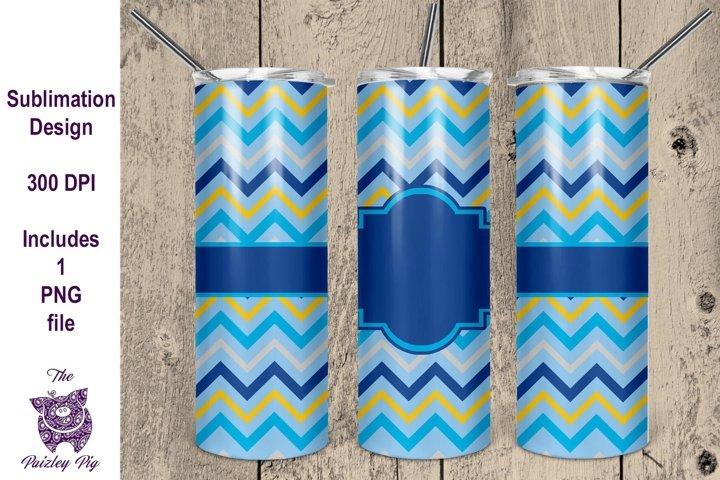Blue and Yellow Chevron 20 oz skinny Tumbler Sublimation Fil