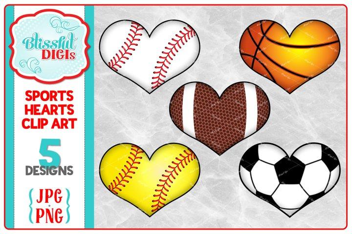 Sports Hearts Clip Art - Baseball/Football/Soccer/Basketball