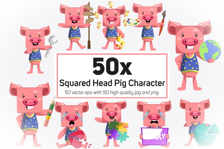 50x Squared Head Pig Character and Mascot Collection