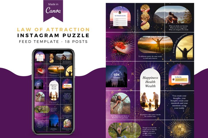 Law of Attraction, Instagram Puzzle Template, Party Biz, Can