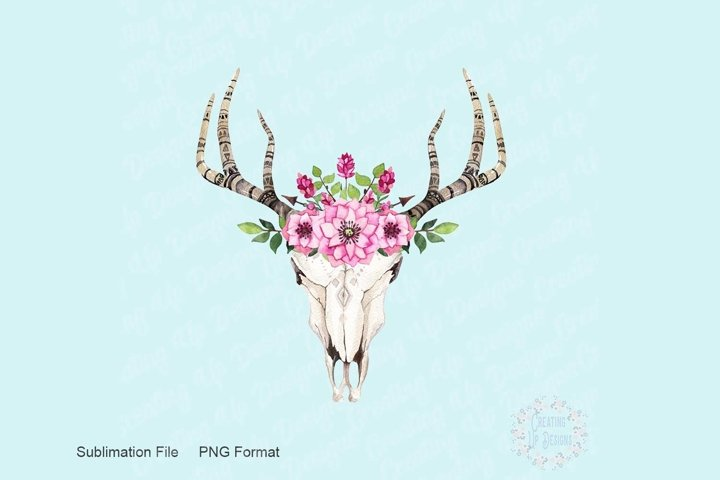 Boho Cow Skull With Pink Flowers PNG