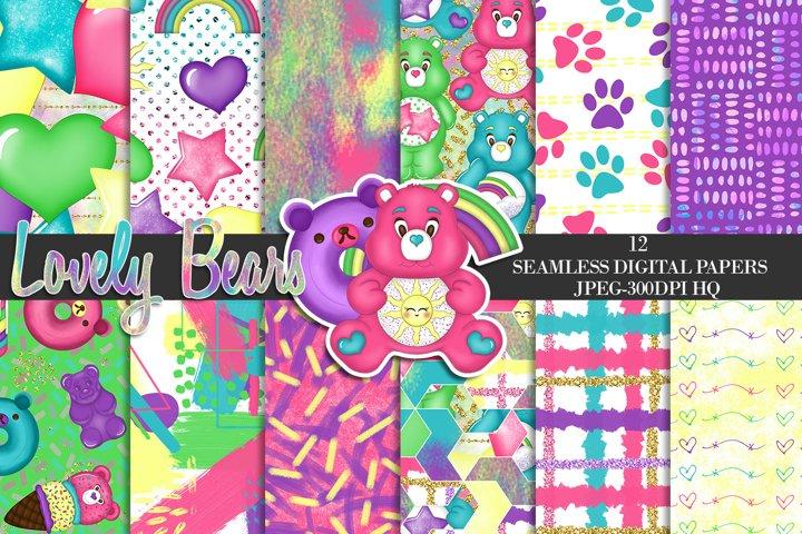 Rainbow Bears Digital Papers, Lovely Bears Cute Backgrounds