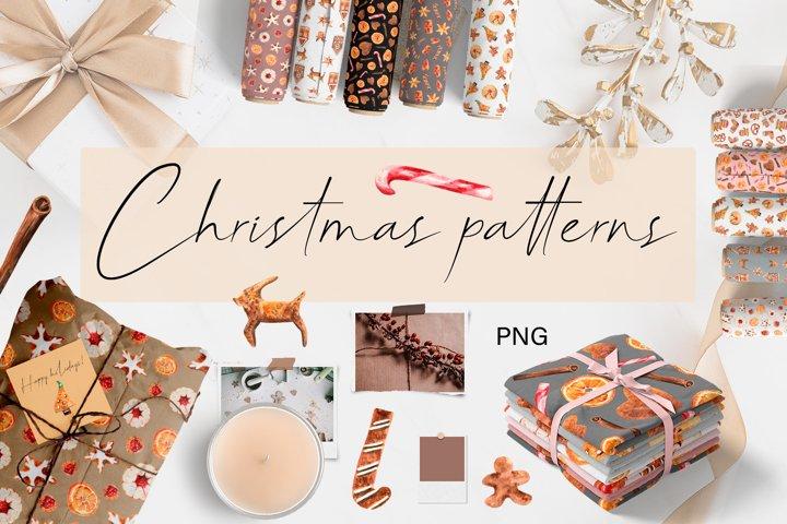 Christmas Gingerbread Cookies Patterns. Digital Paper Prints