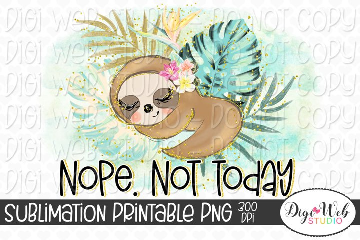 Nope. Not Today. Napping Sloth Sublimation Design