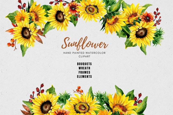 Sunflower Watercolor Clipart, Fall Flower Clipart Bundle
