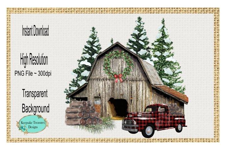 Christmas Barn, Sublimation Design