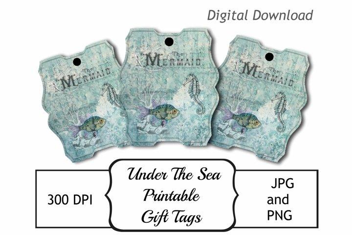 Vintage Mermaid Under The Sea Catalog Printable Tags