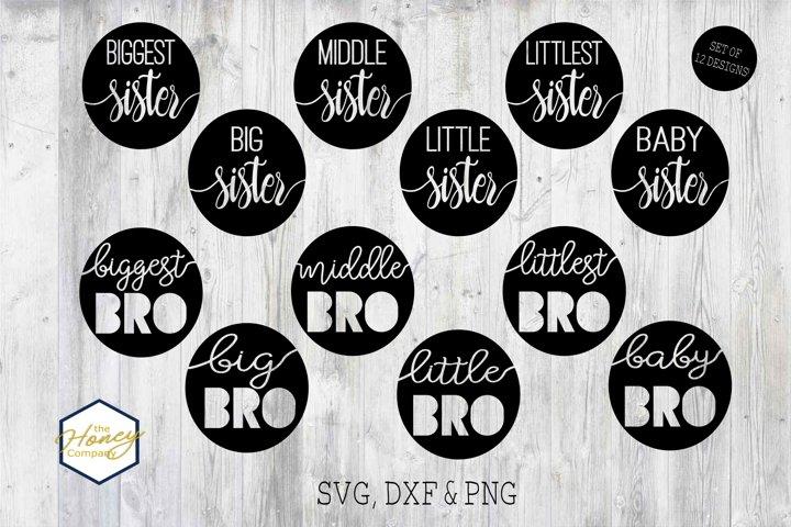 Sister Brother Big Little Bundle SVG PNG DXF Cutting File