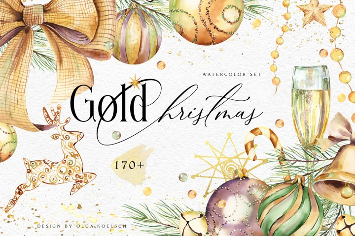 Gold Christmas watercolor collection