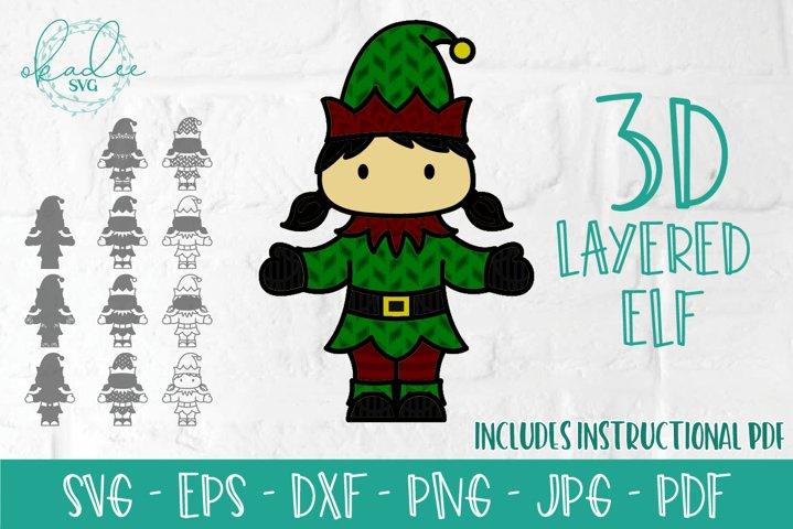 3D Layered Elf SVG, 3D Christmas, Layered Mandala, DXF