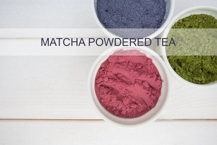 Green, blue and red matcha powdered tea flatlay - 2 pictures